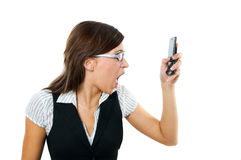 Angry businesswoman shouting to mobile Stock Images