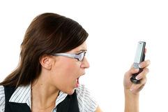 Angry businesswoman shouting to mobile Stock Photos