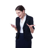 Angry businesswoman standing over white isolated background Royalty Free Stock Images