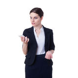 Angry businesswoman standing over white isolated background Stock Photography
