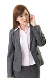 Angry businesswoman talk on phone Royalty Free Stock Photography