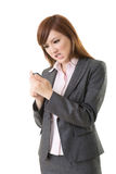 Angry businesswoman talk on phone Stock Photo