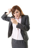 Angry businesswoman talk on phone Royalty Free Stock Images