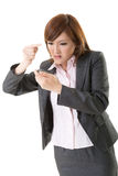 Angry businesswoman talk on phone Royalty Free Stock Photos