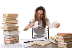 Angry businesswoman tearing a paper Stock Photo