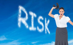 Angry businesswoman throwing binoculars away Stock Images