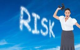 Angry businesswoman throwing binoculars away Stock Images