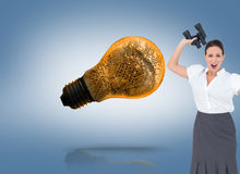 Angry businesswoman throwing binoculars away Royalty Free Stock Photo