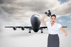 Angry businesswoman throwing binoculars away Stock Photography