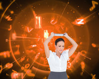 Angry businesswoman throwing her tablet pc Royalty Free Stock Photo