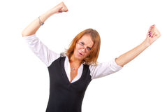 Angry businesswoman waving his arms Royalty Free Stock Photography