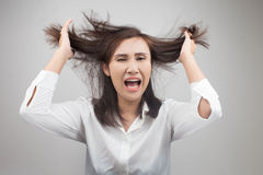 Angry businesswoman stock photography