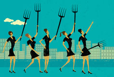 Angry businesswomen. Protest and raise their pitchforks. The protestors and the background are on separate labeled layers Stock Photography