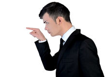 Angry bussines man pointing Stock Photo