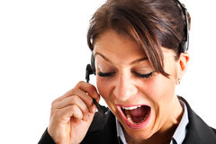 Angry call center employee Royalty Free Stock Photo