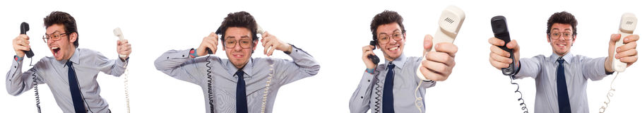 The angry call center employee in collage Stock Photos