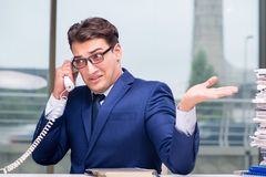 The angry call center employee yelling at customer. Angry call center employee yelling at customer Royalty Free Stock Photo