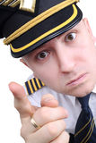 Angry captain. On a white background stock photos