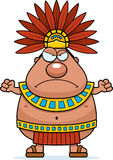 Angry Cartoon Aztec King Stock Image