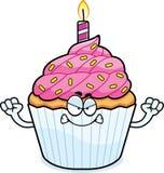 Angry Cartoon Birthday Cupcake Royalty Free Stock Photography