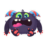 Angry cartoon black monster screaming. Yelling angry monster expression. Big collection of cute monsters. Halloween character. Vector illustrations. Good for Royalty Free Stock Photo