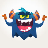 Angry cartoon black monster screaming. Yelling angry monster expression. Halloween vector illustration. Stock Photography