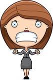 Angry Cartoon Business Woman Stock Image