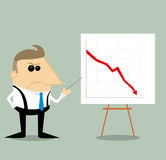 Angry Cartoon businessman with presentation graph Stock Photos