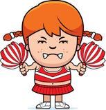 Angry Cartoon Cheerleader. A cartoon illustration of a little cheerleader looking angry royalty free illustration