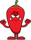 Angry Cartoon Chili Pepper Stock Image