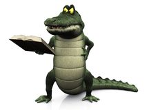 Angry cartoon crocodile reading book. Stock Photo