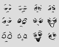 Angry Cartoon Expressions Faces. Hand-drawn Vector Outline Sketched Artwork royalty free illustration