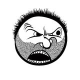 Angry cartoon face with stubble, black and white lines vector il vector illustration