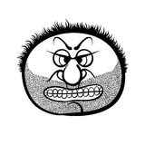 Angry cartoon face with stubble, black and white vector illustra Stock Photography