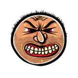 Angry cartoon face with stubble, vector illustration Royalty Free Stock Photography