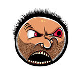 Angry cartoon face with stubble, vector illustration. Royalty Free Stock Images