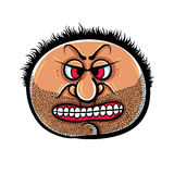 Angry cartoon face with stubble, vector illustration. Stock Photography