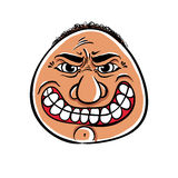 Angry cartoon face, vector illustration. Royalty Free Stock Images