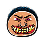 Angry cartoon face, vector illustration. Royalty Free Stock Photos