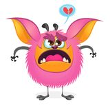 Angry cartoon fat pink monster. Vector illustration of a monster character with large ears. Angry cartoon fat pink monster. Vector illustration of a monster Stock Photography