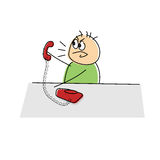 Angry cartoon figure yelling into a telephone Royalty Free Stock Photos
