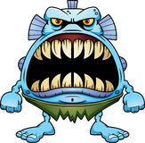 Angry Cartoon Fish Creature. A cartoon illustration of a fish creature with a big mouth full of sharp teeth Stock Image
