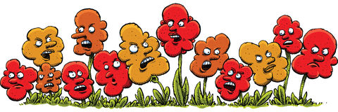 Angry Cartoon Flowers Royalty Free Stock Photos