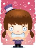 Angry Cartoon Girl Magician. A cartoon illustration of a girl magician looking angry Stock Images