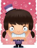 Angry Cartoon Girl Magician. A cartoon illustration of a girl magician looking angry Royalty Free Stock Photo