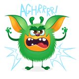 Angry cartoon green hairy monster. Big collection of cute monsters for Halloween. Vector illustration. Isolated on white background Stock Photo
