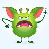 Angry cartoon green hairy monster. Big collection of cute monsters for Halloween. Vector illustration. On white background Royalty Free Stock Photography