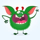Angry cartoon green monster. Big collection of cute monsters for Halloween. Vector illustration.  Stock Image