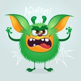 Angry cartoon green monster gremlin. Big collection of cute monsters for Halloween. Vector illustration.. Angry cartoon green monster gremlin. Big collection of Stock Photos