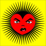 Angry Cartoon Heart. Angry heart on yellow with black spikes Stock Images